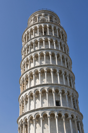 campo dei miracoli: Leaning Tower of Pisa against blue sky in the Campo Dei Miracoli, Pisa, Italy