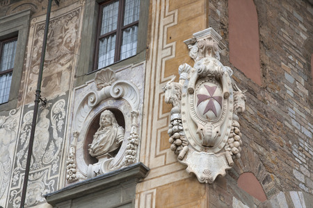 Medici coat of arms on building of University on Piazza dei Cavalieri in Pisa, Tuscany, Italy Stock Photo
