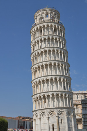 campo dei miracoli: Unrecognized tourists visit Leaning Tower in the Campo Dei Miracoli, Pisa, Italy Stock Photo