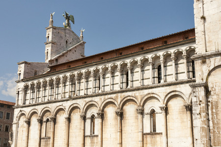 or san michele: View of medieval cathedral San Michele. Lucca,Tuscany, Italy