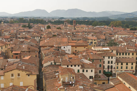 historic place: Lucca cityscape from the Guinigi tower, Tuscany, Italy