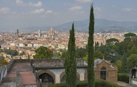 sante: Cityscape of Florence from cemetery delle Porte Sante, Italy with the Duomo Cathedral and bell tower. Stock Photo