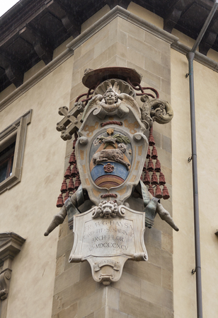 Medici family stone coat of arms in Florence, Italy