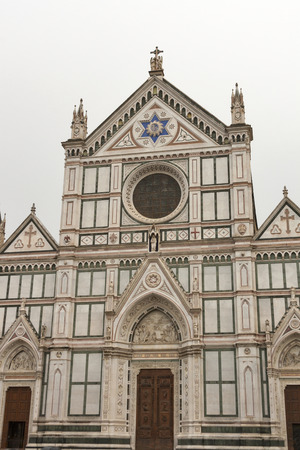 santa cross: Basilica di Santa Croce facade or Basilica of the Holy Cross, famous Franciscan church in Florence, Italy