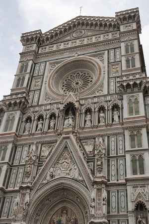 italian fresco: Basilica of Santa Maria del Fiore or Basilica of Saint Mary of the Flower in Florence, Italy at cloudy day. Stock Photo