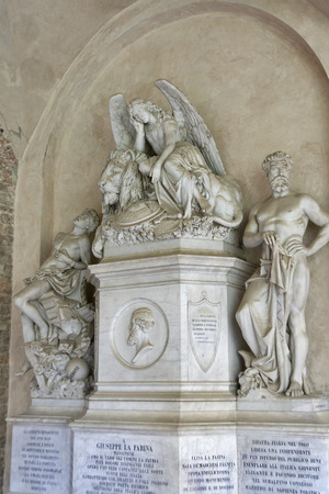 unification: Giuseppe La Farina tomb in Basilica Santa Croce in Florence, Italy. Giuseppe La Farina was an influential leader, founder of the national society dedicated to the unification of Italy. Stock Photo