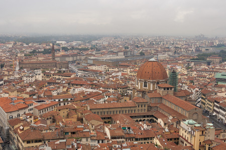 railroad station: Florence cityscape with railroad station in the fog. Aerial view. Italy. Stock Photo
