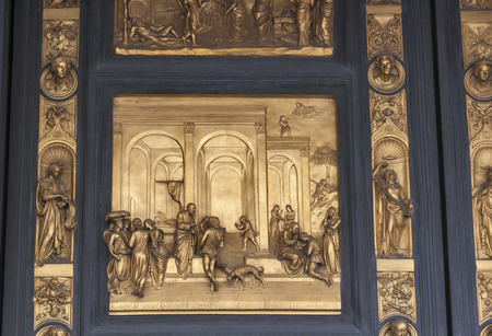 jacob: Isaac with Esau and Jacob by Ghiberti. Detail of the panel on the doors Gates of Paradise of the Duomo Baptistry in Florence, Italy.