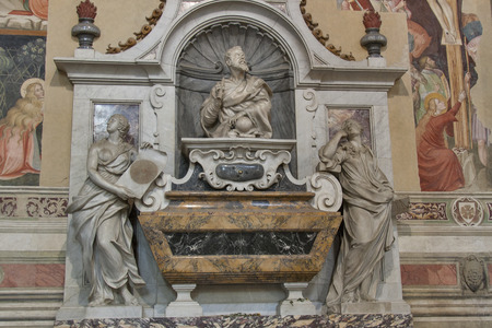 Tomb of Galileo Galilei in the Basilica di Santa Croce in Florence, Italy.