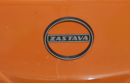 old timer: NOVIGRAD CROATIA  SEPTEMBER 13 2014: Vintage Zastava Fiat group car emblem on 5th International Old Timer Car Rally. The event organized by the old timer club Eppur si muove from Umag.