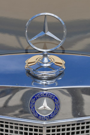 old timer: NOVIGRAD CROATIA  SEPTEMBER 13 2014: Vintage radiator grille and emblem of MercedesBenz car on 5th International Old Timer Car Rally. The event organized by the old timer club Eppur si muove from Umag.