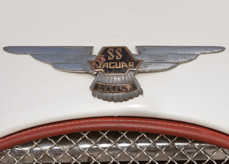 ss: NOVIGRAD CROATIA  SEPTEMBER 13 2014: Vintage radiator grille and emblem of Jaguar SS car on 5th International Old Timer Car Rally. The event organized by the old timer club Eppur si muove from Umag. Editorial