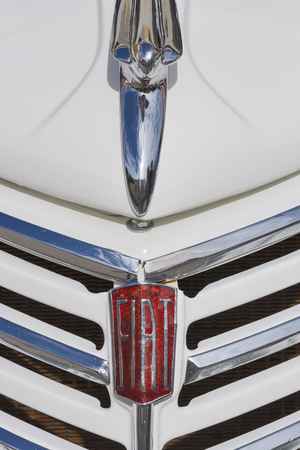 old timer: NOVIGRAD CROATIA  SEPTEMBER 13 2014: Vintage radiator and the emblem of the Fiat car on 5th International Old Timer Car Rally. The event organized by the old timer club Eppur si muove from Umag. Editorial