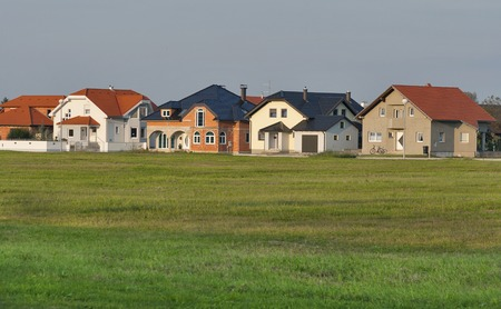 typical: Typical modern residential houses in Northern Croatia Stock Photo