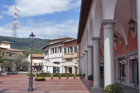 outlet store: MUGELLO ITALY  SEPTEMBER 11 2014: Store facedes of McArthurGlen Designer Outlet Barberino situated in 30 minutes from Florence. McArthurGlen Group opened its first designer outlet in 1995. It has 20 designer outlets in the UK and Continental Europe now. Editorial