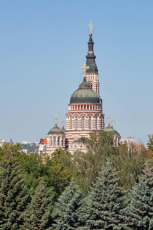 golondrinas: Catedral de la Anunciación contra el cielo claro con los tragos en Kharkiv, Ucrania