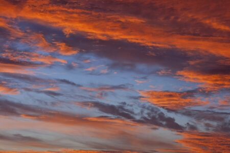 red sky: dramatic sunset sky with orange clouds