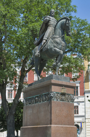 founder: King of Galicia and Volhynia Daniel 1201-1264, founder of Lviv, monument in Lviv, Ukraine. A monument was erected in 2001.