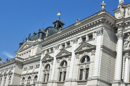 neo classical: Side facade of Lviv State Academic Opera and Ballet Theatre. It was built in classical tradition of Renaissance and Baroque architecture Viennese neo-Renaissance style. Ukraine.