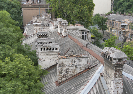 odessa: Roof of old Odessa residential house, Ukraine Stock Photo