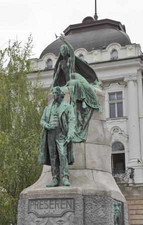 slovenian: Statue of slovenian poet France Preseren in the capital city Ljubljana, Slovenia.