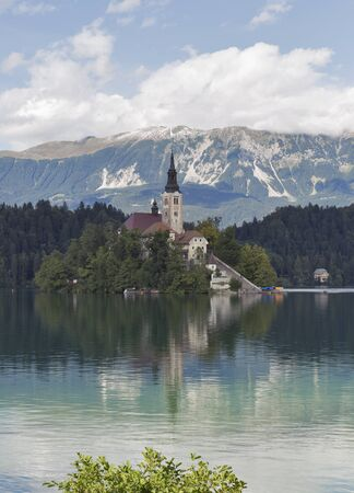 assumption: Island on Lake Bled in Slovenia with Church of the Assumption Stock Photo