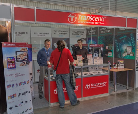 transcend: KIEV, UKRAINE - OCTOBER 11, 2015: People visit Transcend, Taiwanese electronics manufacturer company booth during CEE 2015, the largest electronics trade show of Ukraine in ExpoPlaza Exhibition Center