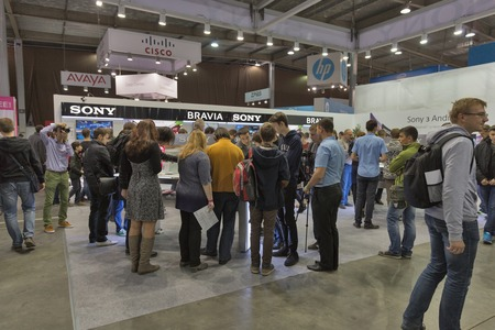 manufacturer: KIEV, UKRAINE - OCTOBER 11, 2015: People visit Sony Bravia, electronics manufacturer company booth during CEE 2015, the largest electronics trade show of Ukraine in ExpoPlaza Exhibition Center
