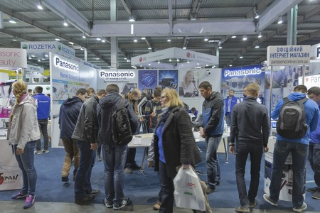 manufacturer: KIEV, UKRAINE - OCTOBER 11, 2015: People visit Panasonic, Japan electronics manufacturer company booth during CEE 2015, the largest electronics trade show of Ukraine in ExpoPlaza Exhibition Center Editorial