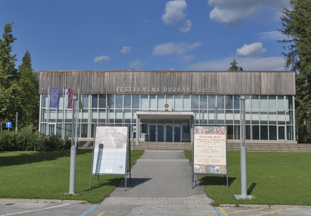 congress center: BLED, SLOVENIA - SEPTEMBER 07, 2015: Facade of Bled Congress Center. The hall was built in 1961 for a large chess event and underwent a thorough renovation prior to Bled hosting the 1989 World Rowing Championships.
