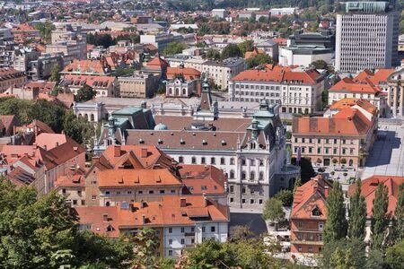 ljubljana: Ljubljana cityscape aerial view, Slovenia