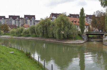 confluence: Confluence of Ljubljanica and Gradascica rivers in Ljubljana, Slovenia