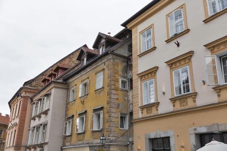 ljubljana: Old architecture in Ljubljana old town, Slovenia Stock Photo