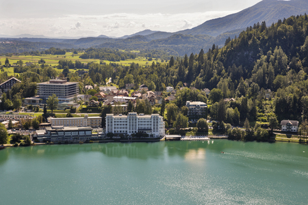 city park boat house: Bled town cityscape with lake, Slovenia Stock Photo