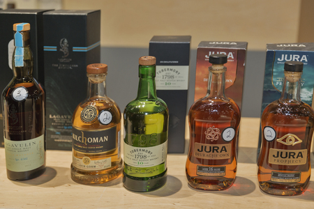 jura: KIEV, UKRAINE - NOVEMBER 21, 2015: Different bottles of rare and exclusive Single Malt Scotch Whiskey on display for tasting at 1st Ukrainian Whisky Dram Festival in Parkovy Exhibition Center.