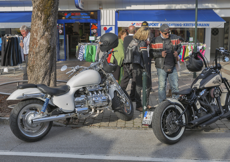 in the ranks: VELDEN, AUSTRIA - SEPTEMBER 08, 2015: Bikers from all over Europe during annual European Bike Week festival. Now it ranks among Europe biggest and best motorcycle events.