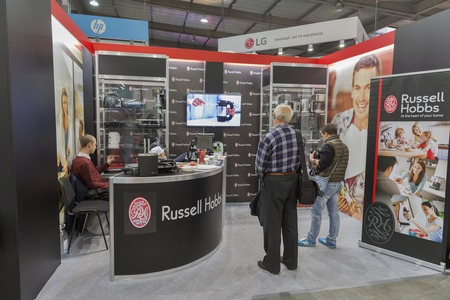manufacturer: KIEV, UKRAINE - OCTOBER 11, 2015: People visit Russell Hobbs, USA manufacturer home appliances company booth during CEE 2015, largest electronics trade show of Ukraine in ExpoPlaza Exhibition Center.