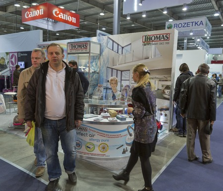 manufacturer: KIEV, UKRAINE - OCTOBER 11, 2015: People visit Robert Thomas, premium vacuum cleaners manufacturer booth during CEE 2015, the largest electronics trade show of Ukraine in ExpoPlaza Exhibition Center