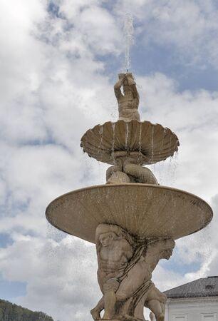 residenz: Famous Residenz Fountain fragment in Salzburg. Austria.