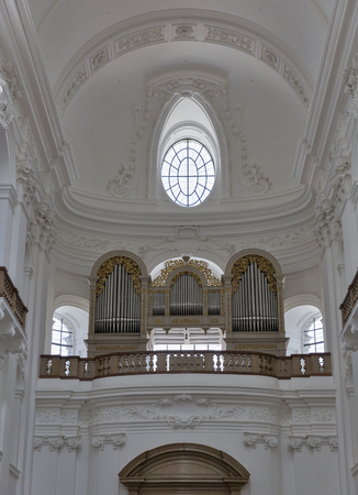 mozart: Organ inside Dom Cathedral where Mozart used to play in Salzburg, Austria Editorial