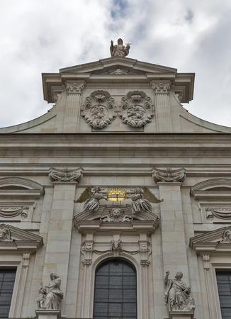 dom: Catholic Cathedral Dom facade top fragment in Salzburg, Austria.