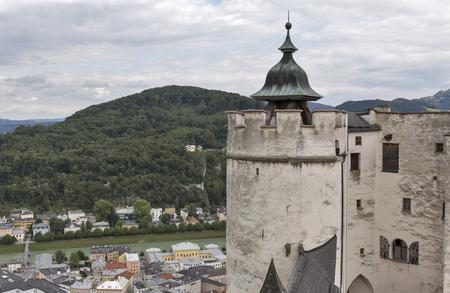 salzach: Aerial view over Salzburg historic city center and Salzach river from fortress Hohensalzburg, Austria