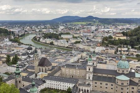 salzach: Aerial view over Salzburg historic city center with Catholic Cathedral Salzburger Dom and Salzach river , Austria Stock Photo