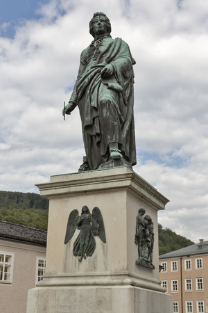 amadeus: Wolfgang Amadeus Mozart statue on Mozart Square Mozartplatz located at Salzburg, Austria Stock Photo