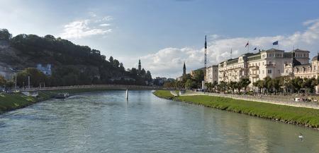 salzach: Cityscape with Salzach river and Makartsteg bridge in Salzburg, Austria Stock Photo