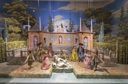marionette: SALZBURG, AUSTRIA - SEPTEMBER 09, 2015: The world famous Marionette Museum and puppet baroque installation in Hohensalzburg Fortress.
