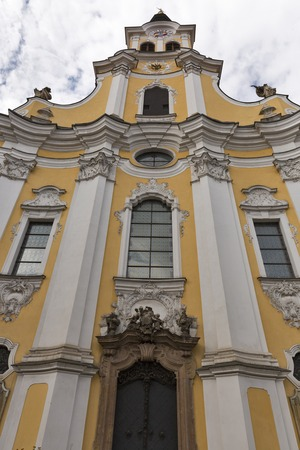 jesus clouds: Barmherzigenkirche church facade in Graz, Styria, Austria