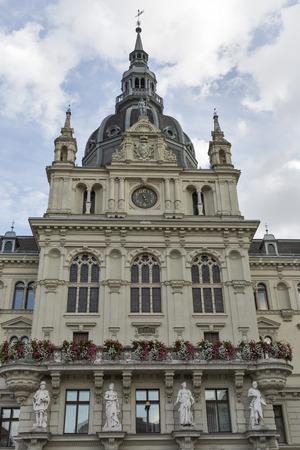 rathaus: Town hall or Rathaus facade in Graz, Austria