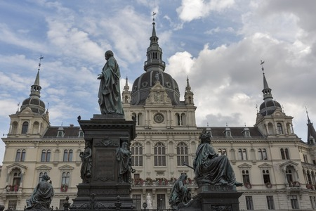 hauptplatz: GRAZ, AUSTRIA - SEPTEMBER 11, 2015: Erzherzog Johann fountain and Town Hall in the background at Hauptplatz square. Graz is the capital of federal state Styria and the second largest city in Austria. Editorial
