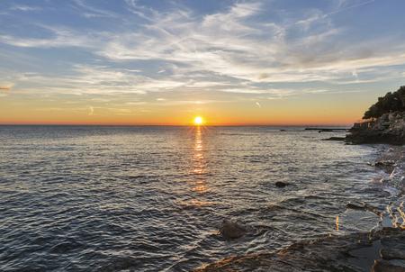 ray trace: Sunset over Adriatic Sea in Istria, Croatia